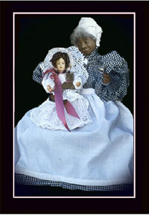 Click here to view closeup of the African American Doll, Mammie and Baby Doll