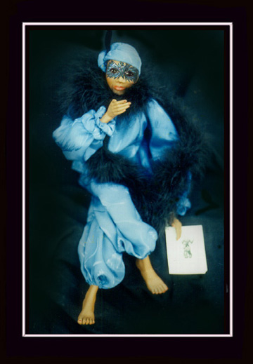 Click here to view closeup of the African American Doll, Veronica, A Mardi Gras Masquerade Doll