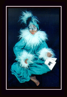 Click here to view closeup of the African American Doll, Nicole, A Mardi Gras Masquerade Doll